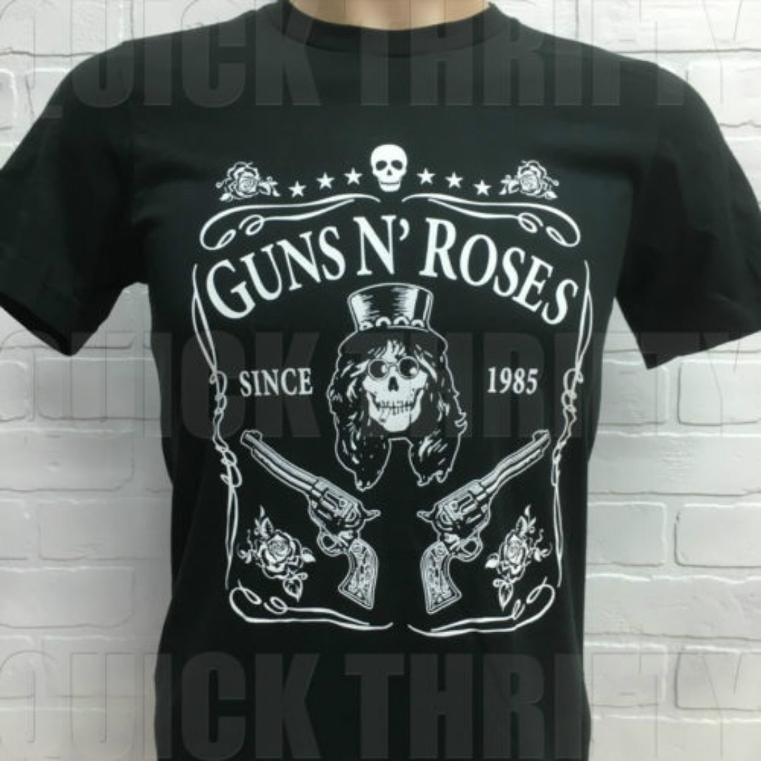2018 New Arrival Guns N Rose Band Printed Unisex T shirts Summer short Sleeved Cotton Tops Tees Skull Punk Rock Harajuku Tshirt