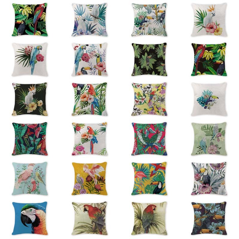 Decor Cushion Case Tropical Style Bird Animal Parrot Cushions Cover Kids Birthday 18 Cotton Linen Coastal Decor Cover Pillow