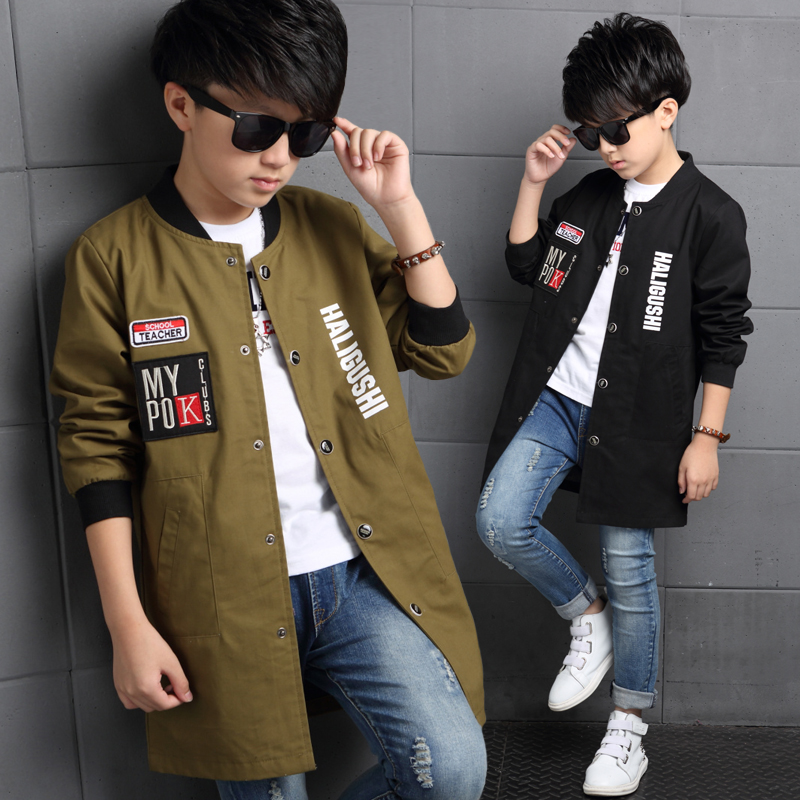 Boys Jackets Letter Baseball Coats For Boys Clothing Children Outerwear Spring Autumn Long Trench 2017 Teenage Boys Tops 6-14Y