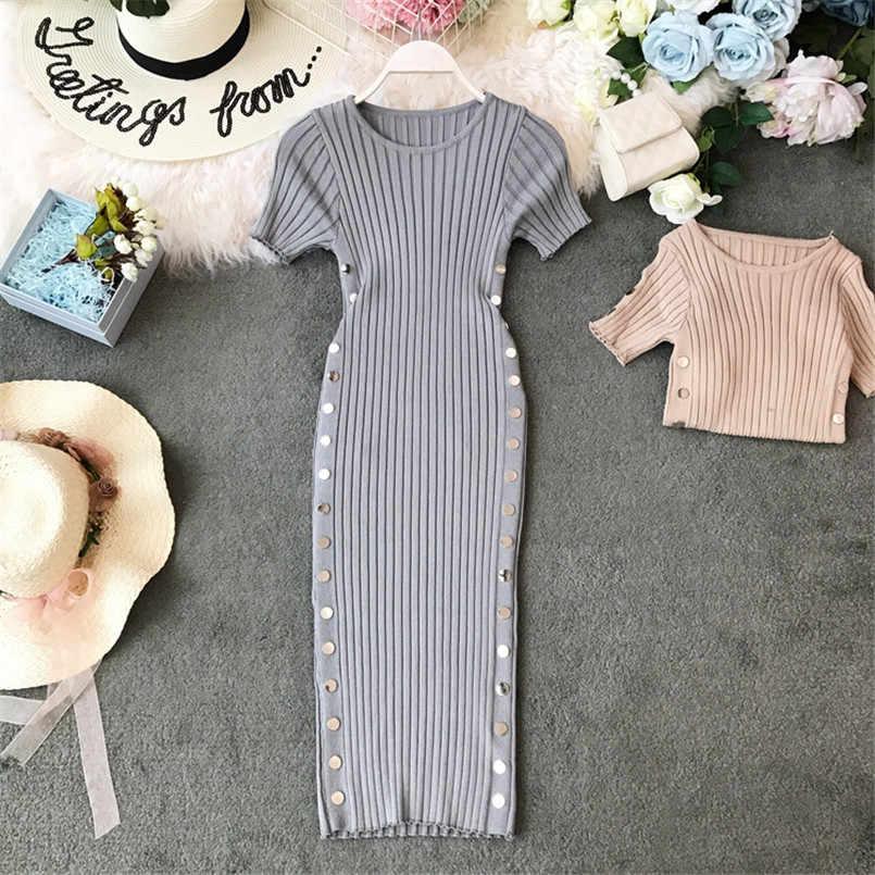 Винтажное женское тонкое летнее Облегающее вязаное платье для офиса средней длины, женские повседневные вечерние элегантные облегающие платья до колена