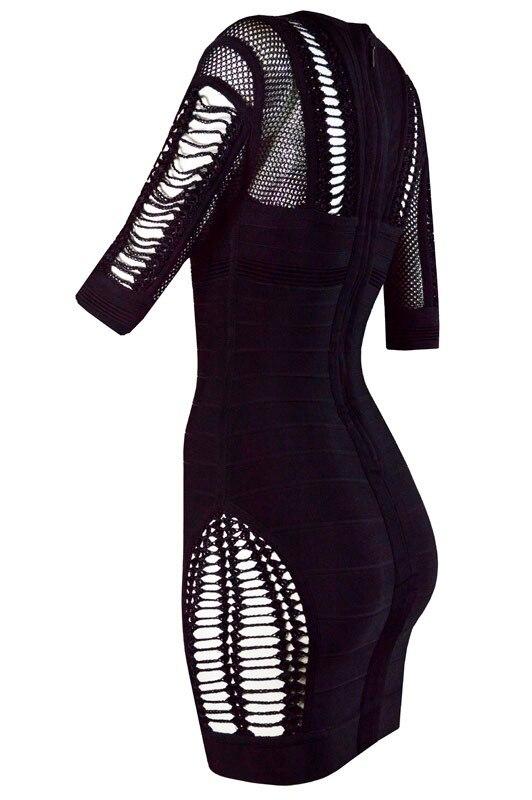 Rayonne Manches D'arrivée 2016 L Robe Évider Sexy Clubware Date Bandage 482 Femmes Moitié Noir Laçage Mini De B4RFwnqPRS