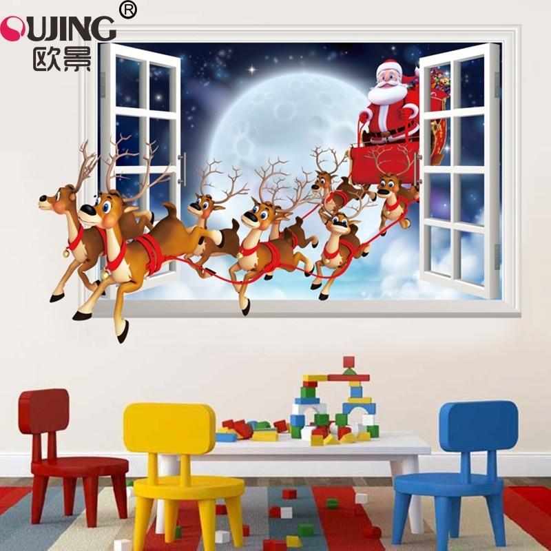 3D имитация искусственного окна, Санта-Клаус, искусство, Декор для дома, плакат для спальни, фестиваль, Рождественское украшение, ПВХ, художес...
