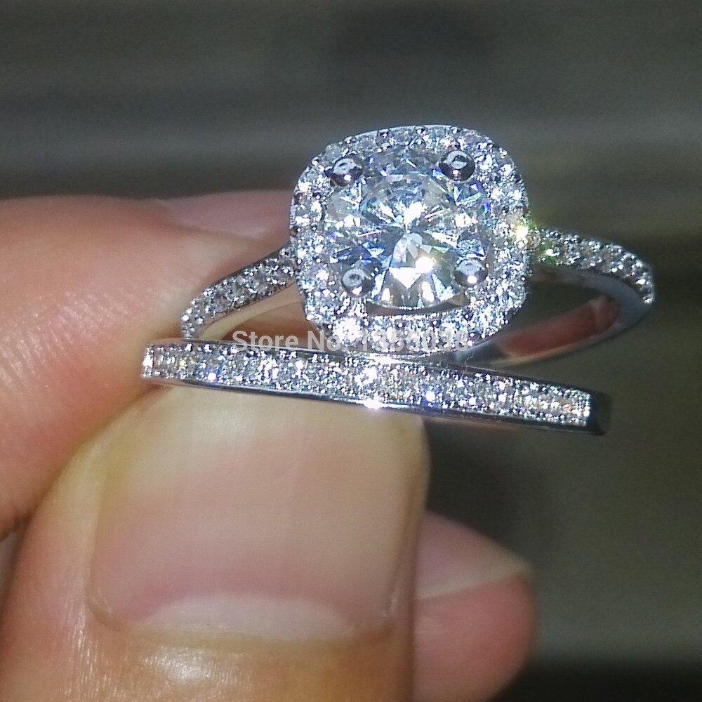 Fashion Jewelry Sparkling Jewellery Aaaaa Zircon Cz 10kt White Gold Filled Wedding  Ring Set Sz 5