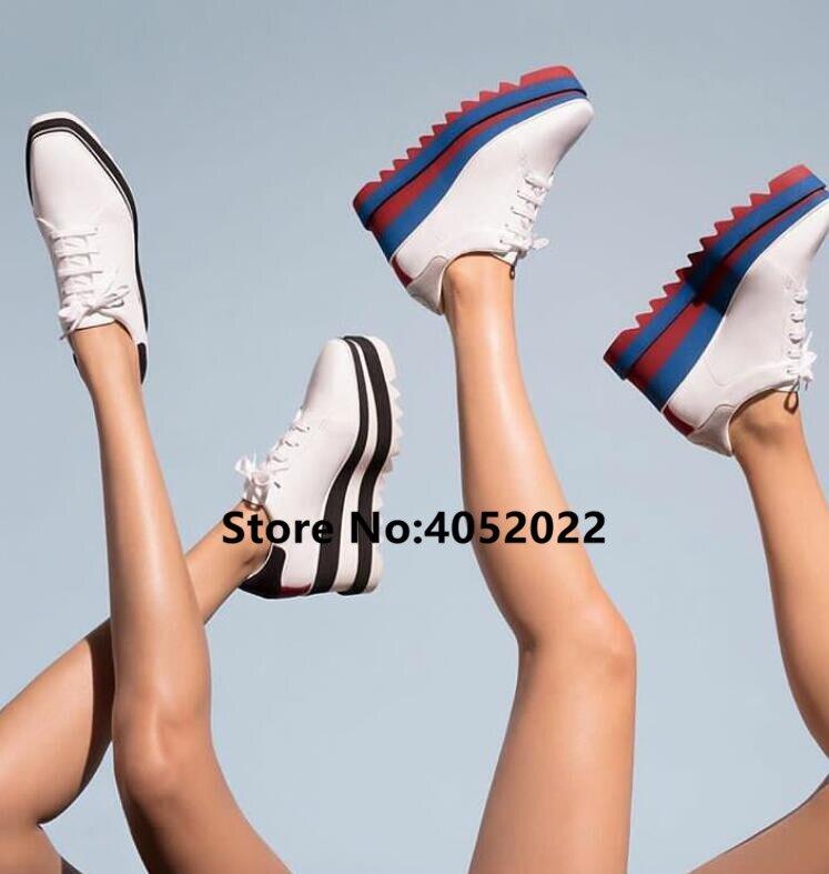 Diseño superior a rayas colores plataforma plana estrella Mujer Zapatos Zapatillas de plataforma alta Casual grueso mujeres Casual zapatos de punta cuadrada-in Zapatos planos de mujer from zapatos    1