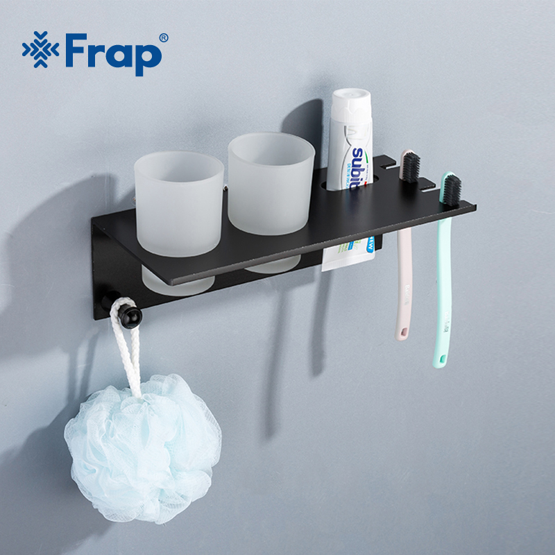 Frap Modern Bathroom Shelf Rack Space Aluminum Couple Toothbrush Cup Holder With Hook Multi-function Bath Shelves Shelf Y18076 image