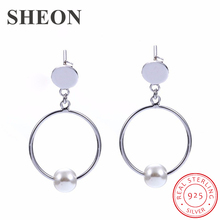 SHEON 100% 925 Sterling Silver Simple Circle Tassel Pearl Stud Earrings Gentle Sweet For Women Jewelry