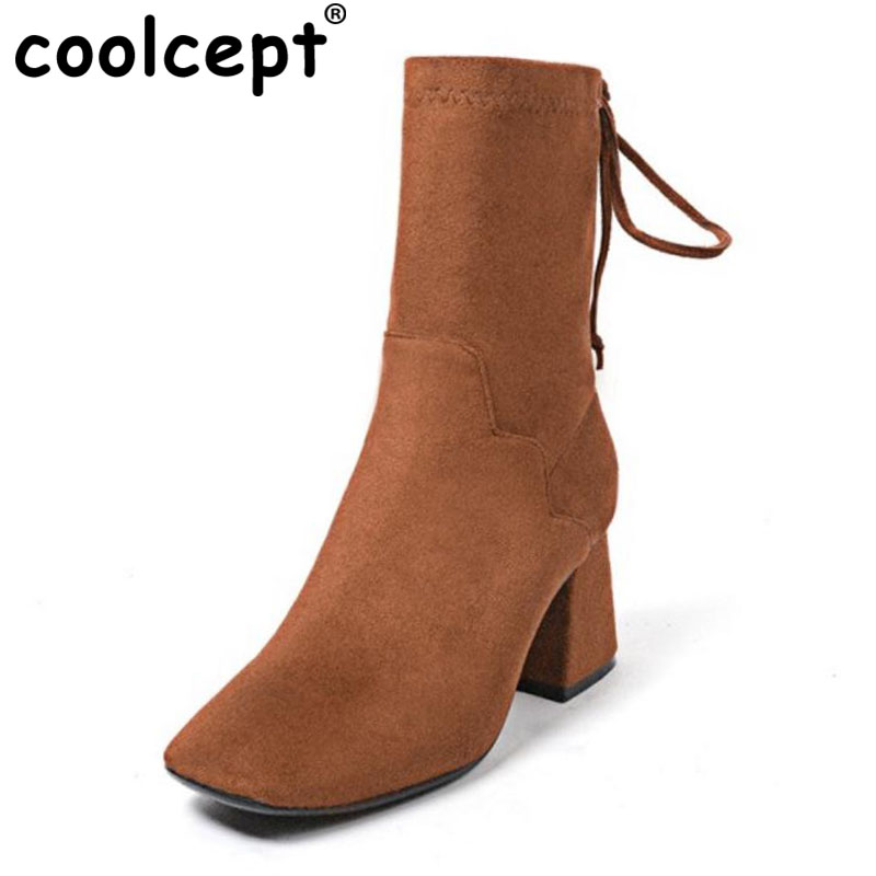 Coolcept Sexy Ladies Real Leather High Heel Boots Women Solid Color Lace Up Boot Women Fashion Warm Dating Footwears Size 34-40