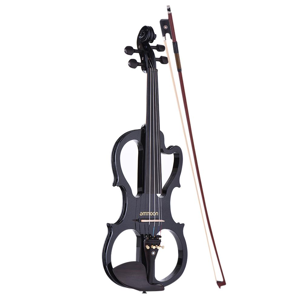 Violin Musical Instruments Romantic Ammoon Ve-201 Full Size 4/4 Solid Wood Silent Electric Violin Fiddle Maple Body Ebony Fingerboard Pegs Chin Rest Tailpiece