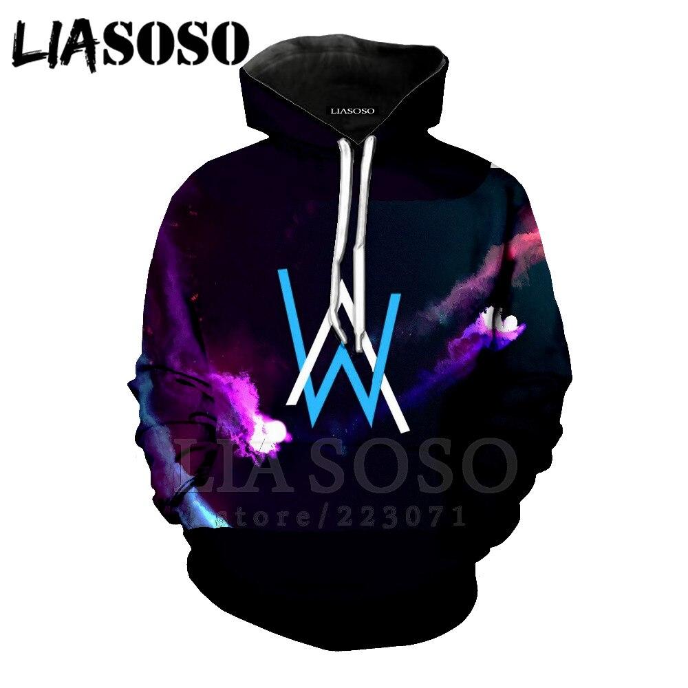 LIASOSO Hip Hop Streetwear Alan Walker DJ Hoodies High Quality Hooded Sweatshirt Men & Women Hip hop Rock Star al153