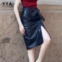 Юбка карандаш черная сплит сексуальная юбка из натуральной кожи с поясом длинные юбки для женщин женская одежда 2019 женские юбки офисные S 2XL