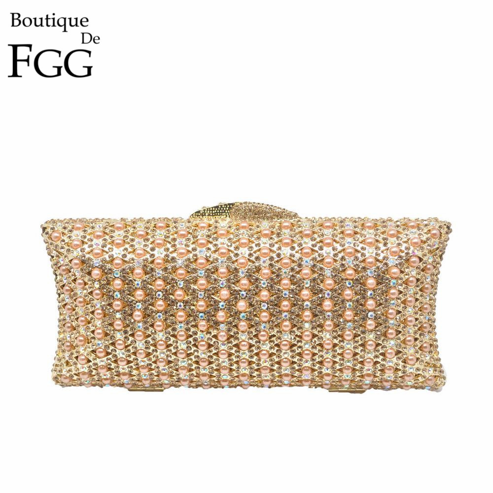 Boutique De FGG Golden Beaded Women Evening Minaudiere Metal Clutches Bag Crystal Wedding Party Purse Bridal Handbag Clutch