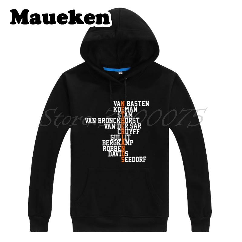 Men Hoodies Retro Crossword Netherlands Legend Holland VAN BASTEN CRUYFF GULLIT BERGKAMP SEEDORF Sweatshirts Thick W17102307