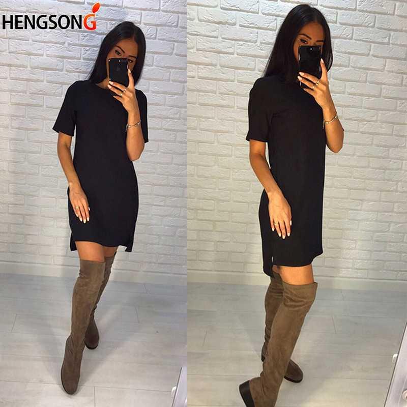 2018 nouveau femmes robe d'été col rond à manches courtes solide tenue décontractée irrégulière ourlet Vintage droite Mini robe Vestidos