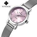 2017 nuevo de las mujeres mujeres de los relojes de cuarzo reloj de vestir señoras reloj de cuarzo reloj de las mujeres relojes mujer de Negocios inoxidable correas rosa