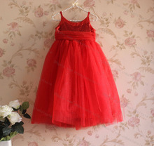 2015 Christmas Kids Girls Sequins Lace Dresses Baby girl Singlet Princess Tulle Pagent Party Dress