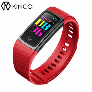KINCO OLED Color Display Bluetooth Heart Rate Blood Pressure Monitor Sport Bracelet Pedometer Smart Wristband for IOS/Android