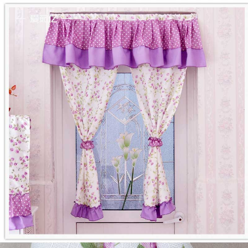 Hot Sale !100% Cotton Kitchen Curtains Short Pastoral Curtains For Window  90*120 Semi Shade Kitchen Curtains