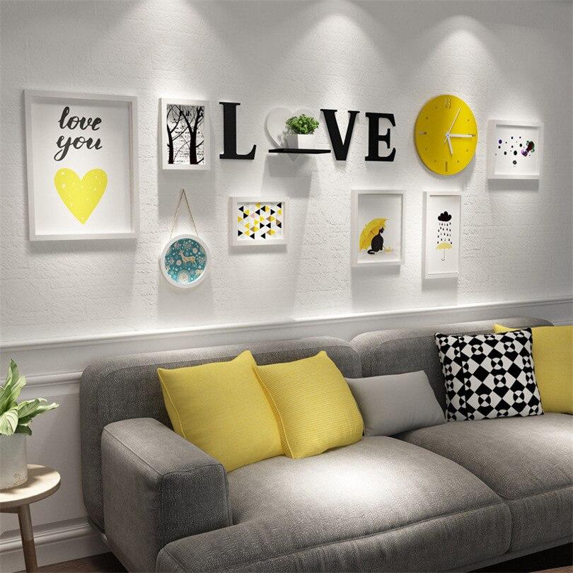 Белые рамки для фото комплект + с надписью «LOVE» + желтый часы украшения дома аксессуары фоторамка набор деревянной рамки для фотографий Moldura