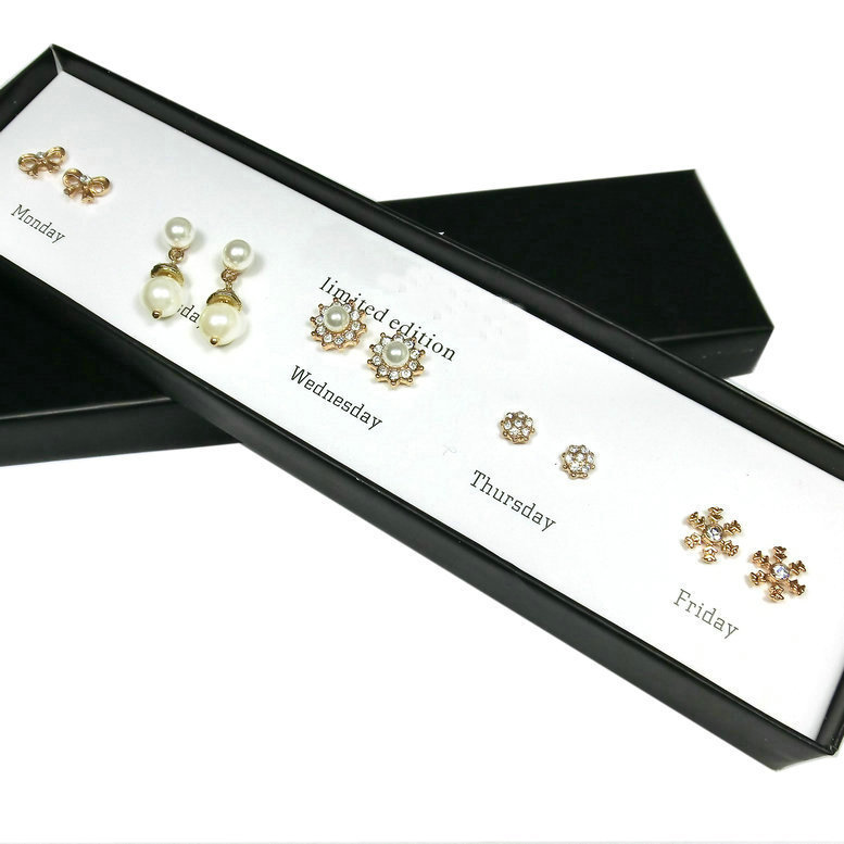2015 Trendy jewelry-Office lady week crystal pearl stud earring set Monday to Friday sweet J.C five styles good gift