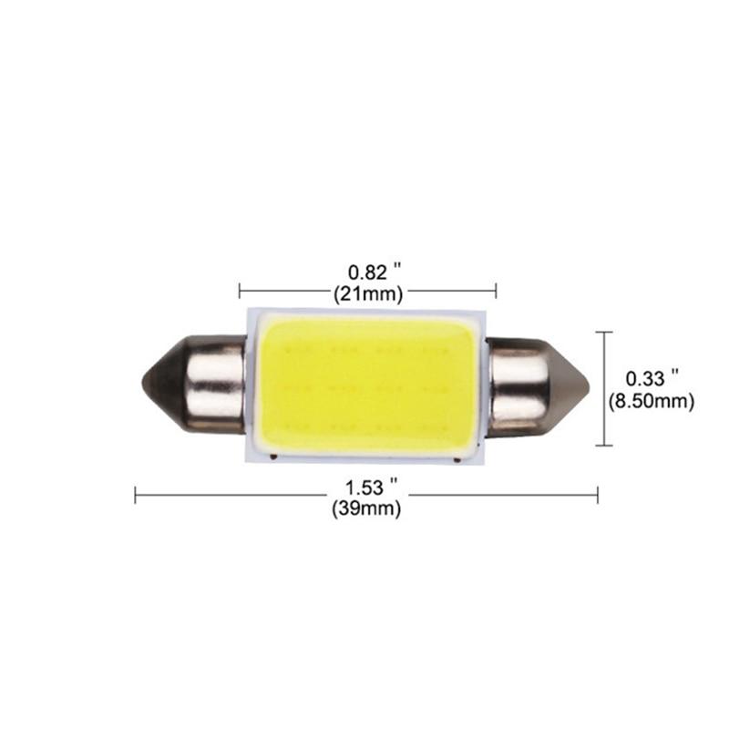 Leites 200pcs 31mm 36mm 39mm 41mm Car COB 1.5W DC12V Interior Car LED Bulbs Lamp 12Chips C5W 12V White Color LED Bulb Dome Light (4)