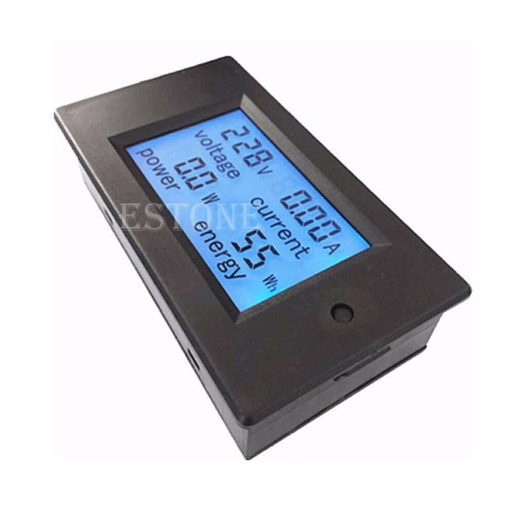 1pc Power Meter AC 80-260V LCD Digital 20A Volt Watt Power Meter Ammeter Voltmeter 20a ac digital lcd panel power meter monitor power energy ammeter voltmeter blue backlight dual measuring 80 260v
