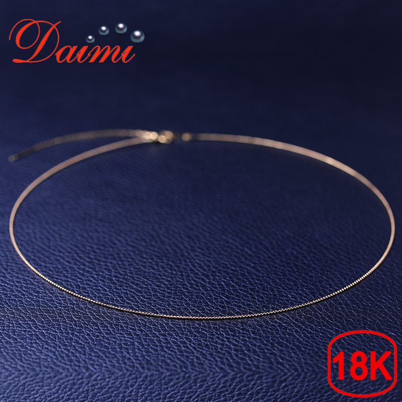 DAIMI Pure Gold Necklace Chain 18K Yellow Gold DIY Chain 40cm 45cm Adjustable Necklace Chain Wendding