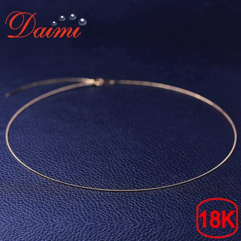 DAIMI collar de oro puro cadena 18 K oro amarillo DIY cadena 40 cm-45 cm cadena collar ajustable Wendding regalo del partido