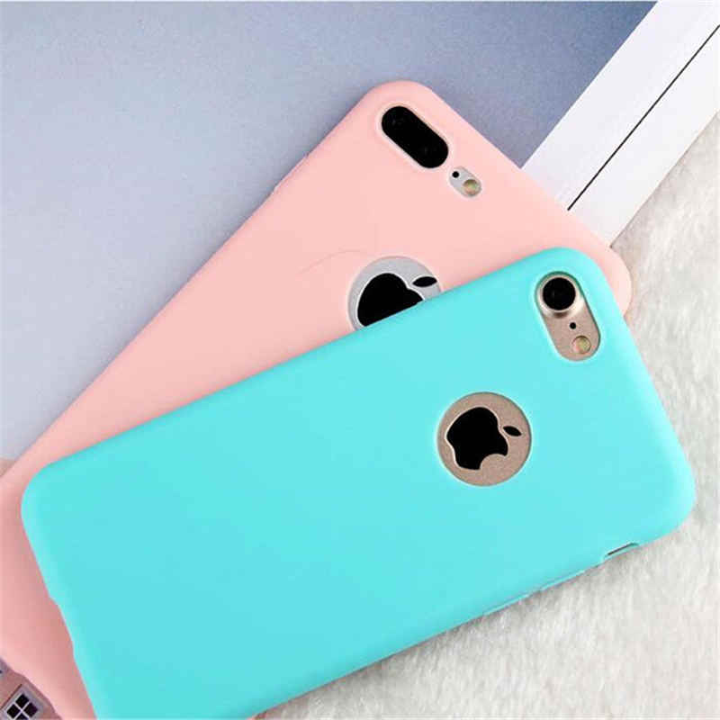 Phone Case For iPhone 7 Plus 6 6s 8 X 5 5s SE XR XS MAX Simple Solid Color Ultrathin Soft TPU Cases Candy Color Back Cover