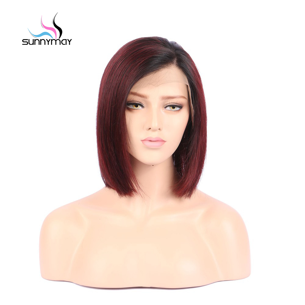 Sunnymay 13x4 T1B Burgundy Ombre Color Bob Wigs Pre Plucked Lace Front Human Hair Wigs Straight