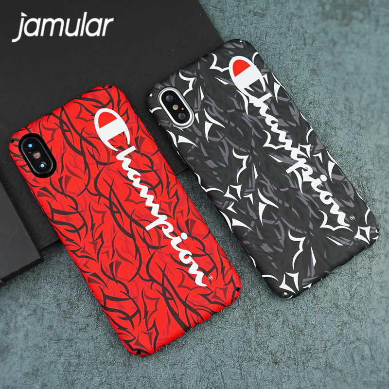 b0ef3d82a6f3d5 JAMULAR For iPhone X 6s 6 7 8 Plus Luminous Trend Champion Hard Plastic Cover  Case Camouflage Phone Bag For iPhone 7 8 Hot Funda