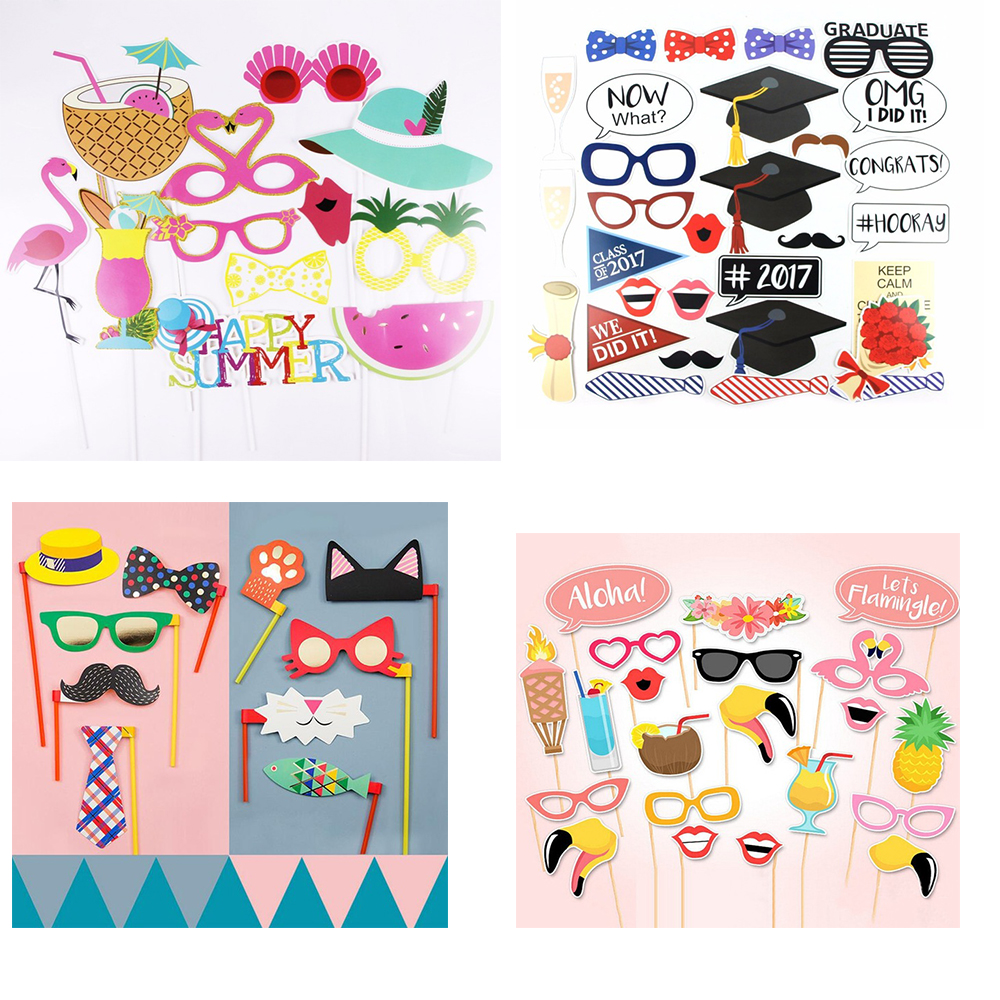 DIY Christmas Photo Booth Props Funny Mask Glasses Mustache Lip On A Stick Birthday Bride Wedding Decoration Party Accessories in Party DIY Decorations from Home Garden