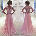 Elegant Pink Long Evening Dress 2016 Appliqus Lace Beaded V Neck Chiffon Women Party Prom Gowns Vestido De Festa Plus Size