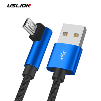 USLION 90 Degree Micro USB Cable 2A Fast Charger For Samsung Xiaomi Huawei Android Cable Mobile Phone Cable For Android Device lukmall iphone case