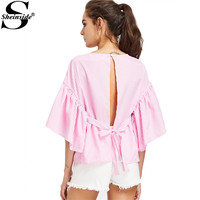 Sheinside Open Back Blouse Shirt Women Pink Self Tie Kimono Sleeve Sexy Striped Summer Tops 2017