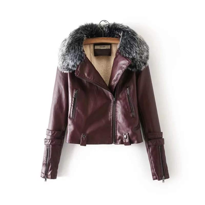 Autumn Winter Thick Warm Fleece Inside Fur Collar Faux   Leather   Women Short Jacket Slim Fashion Oblique Zipper Woman Coat Outwear