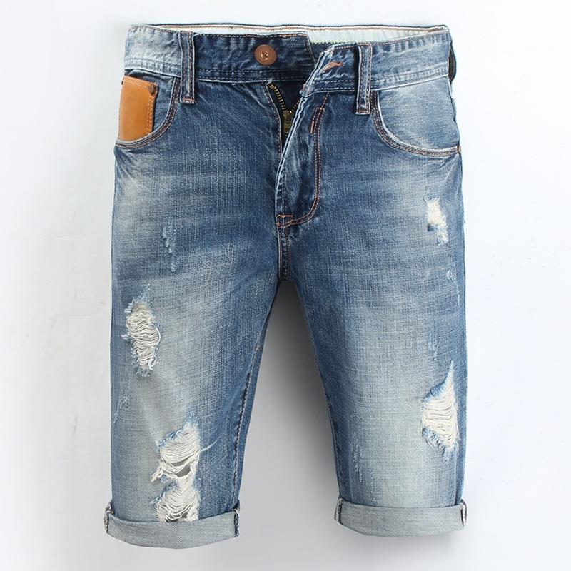 Ripped Jean Shorts for Men 2017 New Breeches Fashion Summer Casual Knee  Length Beach Short Bermuda Hole Capris Denim Shorts Male - Ripped Denim Shorts Blue Wash Men Promotion-Shop For Promotional