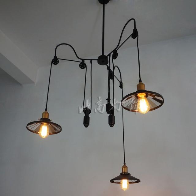 Loft restaurant bar style rural industrial     telescopic mirror pendant light bar dining lamp