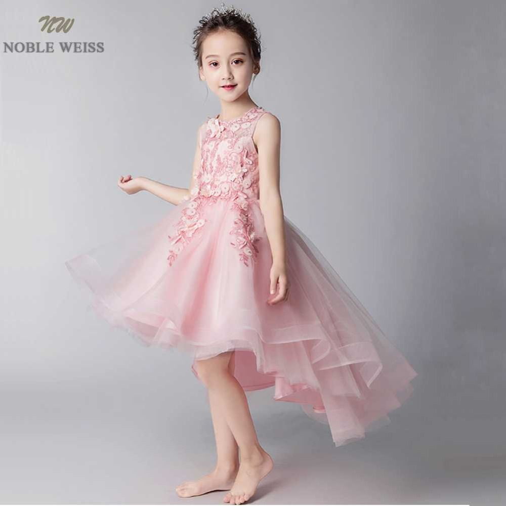 NOBLE WEISS Tulle Pageant   Dresses   for   girls   O-Neck Formal Tea-Length High Quality Lace Beading   Flower     Girl     Dress