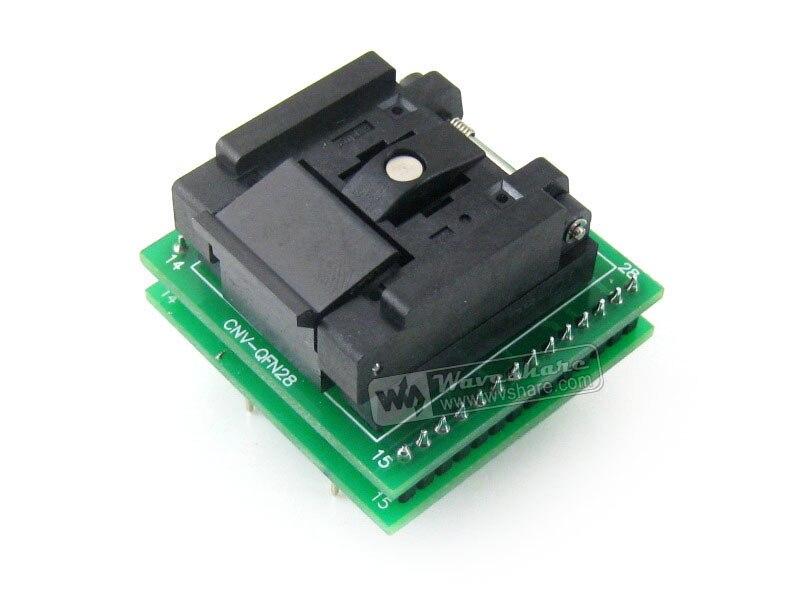 QFN28 À DIP28 (C) QFN28 MLF28 MLP28 Plastronics QFN-28B-0.65-01 IC Test Socket Adaptateur de Programmation à 0.65mm de Hauteur