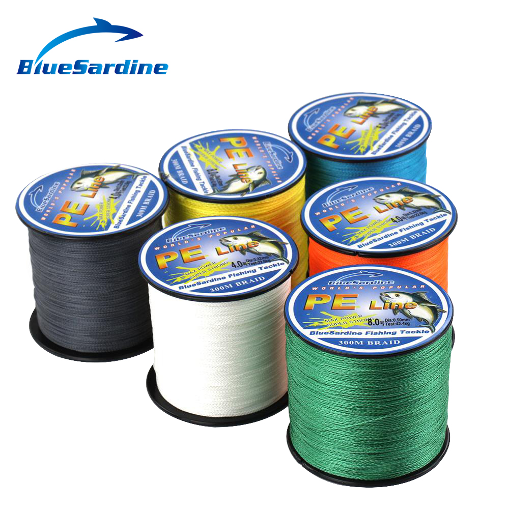 BlueSardine 300M Multifilament PE Flettet Fiske Line Super Strong 4 Strands Braid Fishing Wires 12LB - 90LB