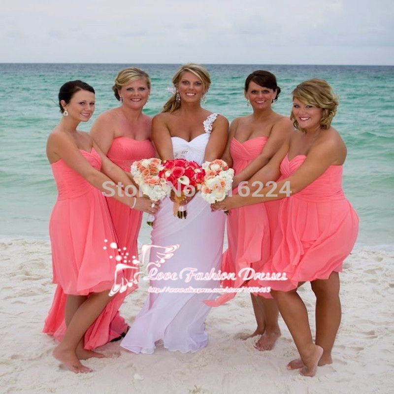 Strapless Coral Bridesmaid Dress_Bridesmaid Dresses_dressesss