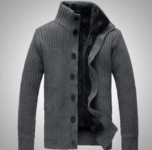 2016 New Fashion collar winter warm thick knitting men jacket, long sleeved sweater men, cardigan sweater for men