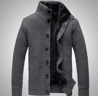 2014 New Fashion Collar Winter Warm Thick Knitting Men Jacket Long Sleeved Sweater Men Cardigan Sweater