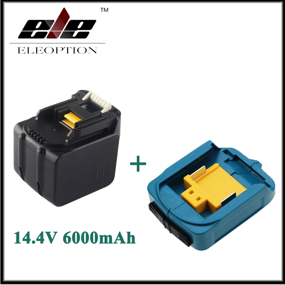 Eleoption 6000mAh 14.4V Li-ion Rechargeable Battery For Makita BL1430 BL1415 194066-1 194065-3 194559-8 With USB Adapter ChargerEleoption 6000mAh 14.4V Li-ion Rechargeable Battery For Makita BL1430 BL1415 194066-1 194065-3 194559-8 With USB Adapter Charger