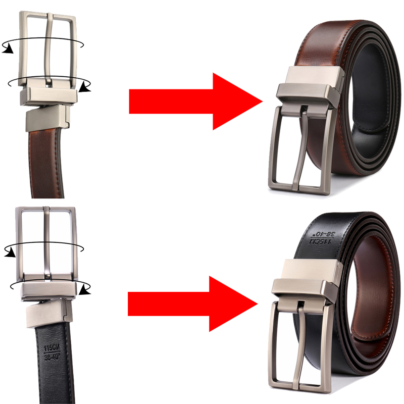 Image 2 - Men's Genuine Leather Belt Reversible Buckle Belts For Men Luxury Strap Male Waistband Rotated Buckle Dress Belt 75cm to 160cm-in Men's Belts from Apparel Accessories on AliExpress
