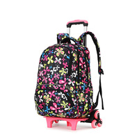 Fashion Kids Trolley Backpack 2/6 wheels Boys Girl's Trolley School bags Children's Travel luggage Rolling Bag School Backpacks