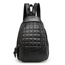 Backpacks For Women Fresh Preppy Style Soft Handle Big Capacity Zipper Bags For College Student Flap Pocket Weave Rivet Backpack