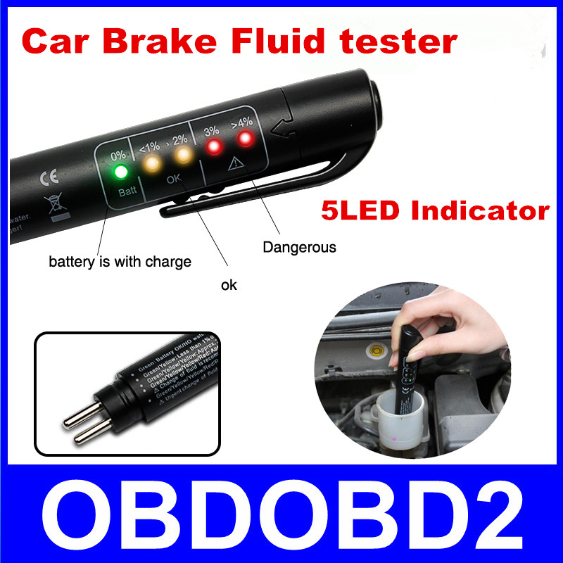 Auto Car Liquid Testing Brake Fluid Tester Check Car Crake Oil Quality LED Indicator Display For Car Care