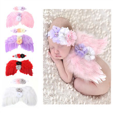Newborn Photography Props Costume Cute Angel Wings+Headband Photo Props Infant Baby Girls Boys Outfits Accessories newborn baby cute crochet knit costume prop outfits photo photography baby hat photo props newborn baby girls cute outfit 0 12m