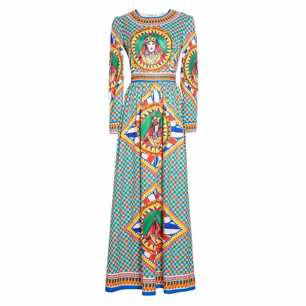 Floral Femmes Haute Robe 2018 Piste Qualité Maxi Automne Coloré Imprimé Conception Vintage Longue Empire Multi Robes De Manches qwPfwA4